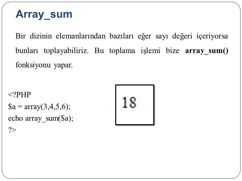 Array_sum Bir dizinin elemanlarından bazıları eğer sayı değeri içeriyorsa bunları toplayabiliriz.
