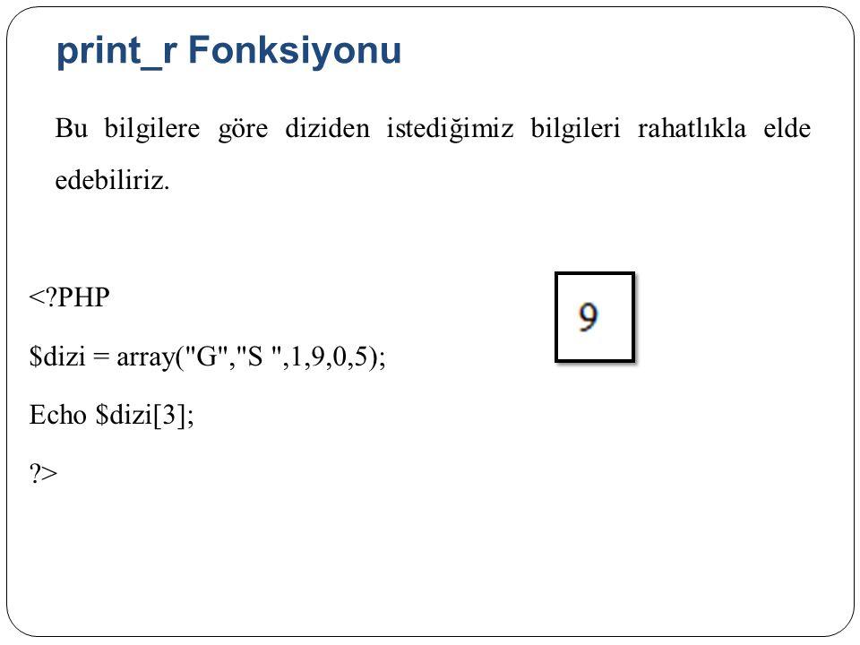 print_r Fonksiyonu Bu bilgilere göre diziden istediğimiz bilgileri rahatlıkla elde edebiliriz.