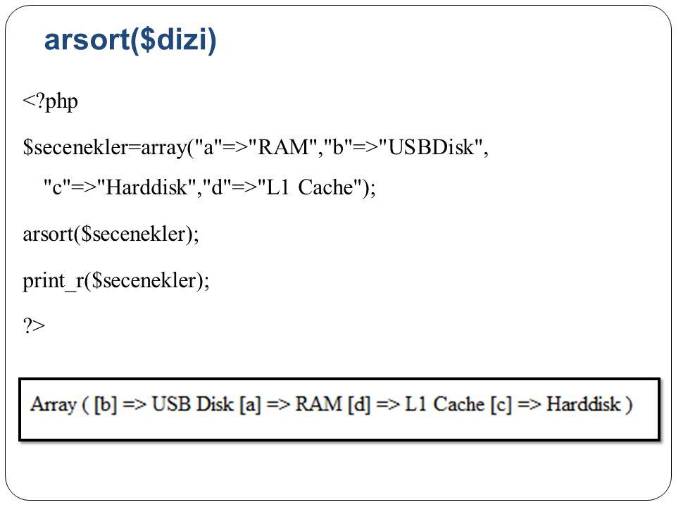 arsort($dizi) <?php $secenekler=array( a => RAM , b => USBDisk , c => Harddisk , d => L1 Cache ); arsort($secenekler); print_r($secenekler); ?>