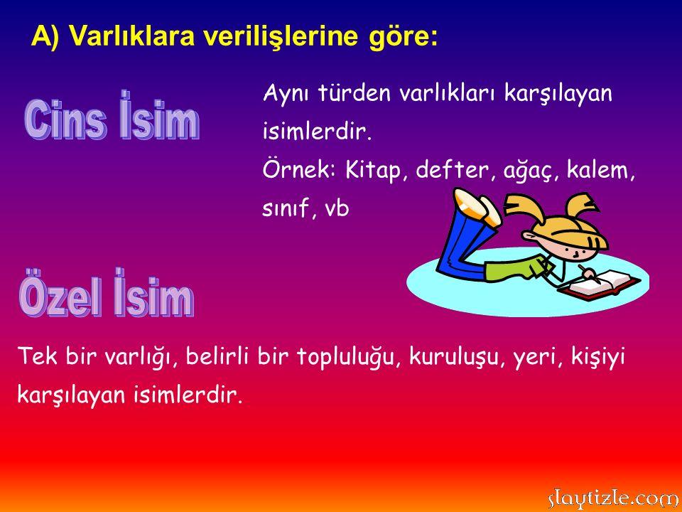 Tek Yer İsimleri: Bayburt, İstanbul, Trabzon...Kişi İsimleri: Yunus, Ayşe, Ahmet, Fatma...