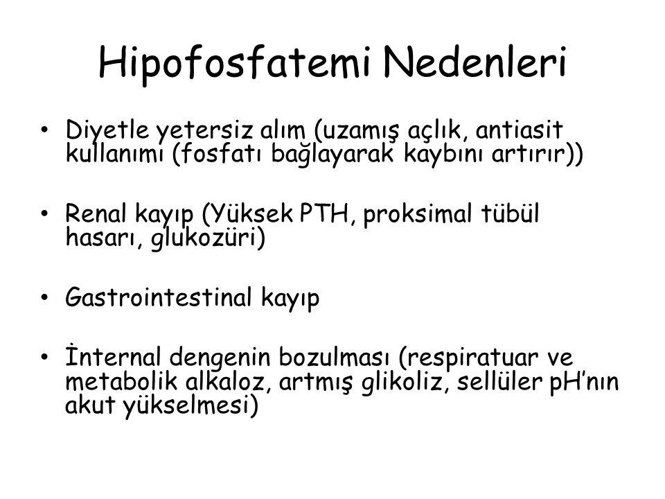 Hipofosfatemi Nedenleri Diyetle yetersiz alım (uzamış açlık, antiasit kullanımı (fosfatı bağlayarak kaybını artırır)) Renal kayıp (Yüksek PTH, proksim