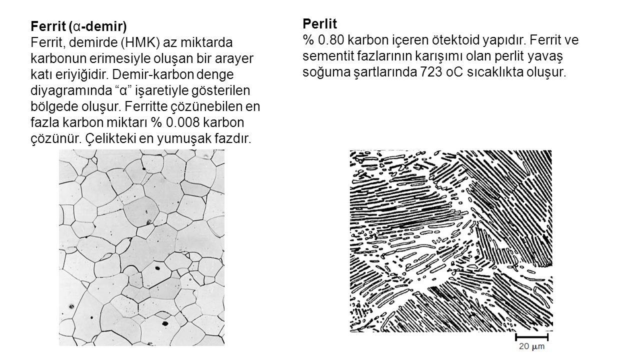 """Ferrit (α-demir) Ferrit, demirde (HMK) az miktarda karbonun erimesiyle oluşan bir arayer katı eriyiğidir. Demir-karbon denge diyagramında """"α"""" işaretiy"""
