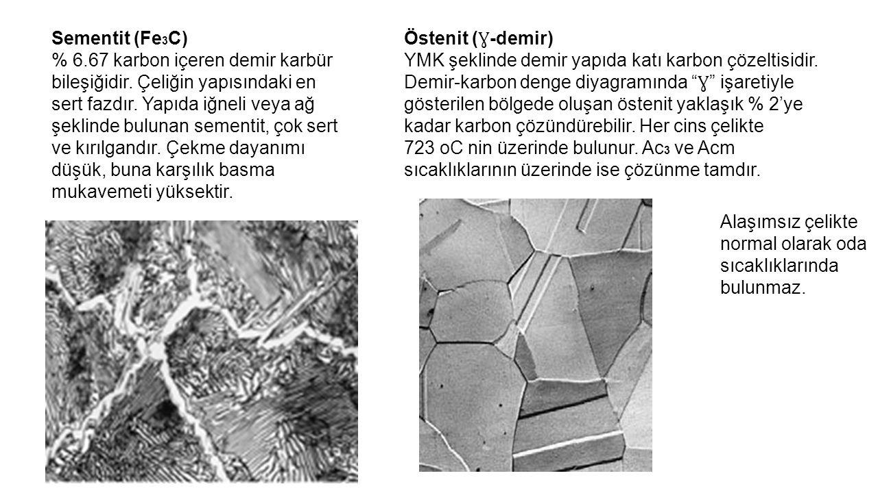 Sementit (Fe 3 C) % 6.67 karbon içeren demir karbür bileşiğidir. Çeliğin yapısındaki en sert fazdır. Yapıda iğneli veya ağ şeklinde bulunan sementit,