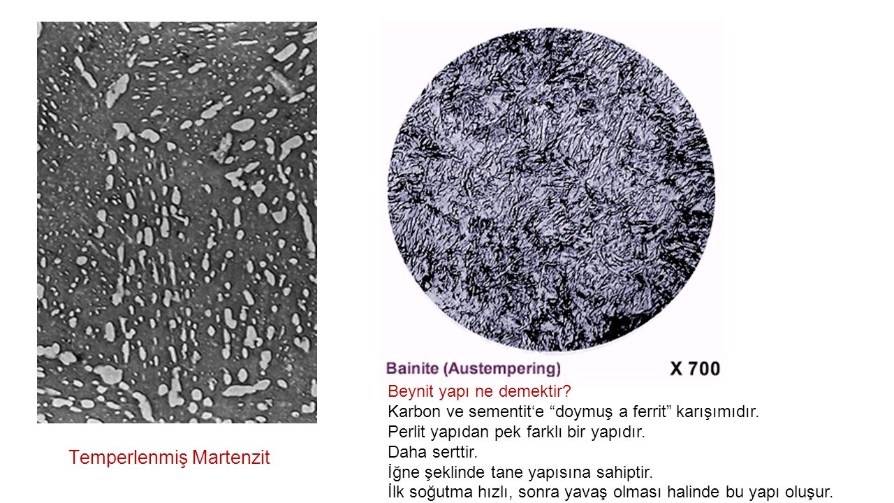 """Temperlenmiş Martenzit Beynit yapı ne demektir? Karbon ve sementit'e """"doymuş a ferrit"""" karışımıdır. Perlit yapıdan pek farklı bir yapıdır. Daha sertti"""