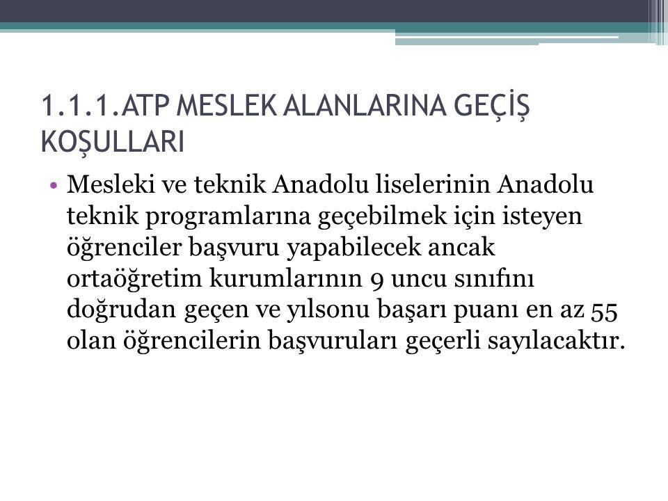 1.1.1.ATP MESLEK ALANLARINA GEÇİŞ KOŞULLARI Mesleki ve teknik Anadolu liselerinin Anadolu teknik programlarına geçebilmek için isteyen öğrenciler başv