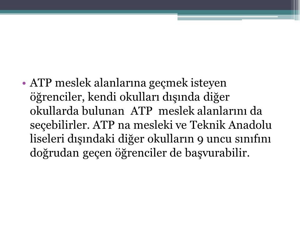 ATP meslek alanlarına geçmek isteyen öğrenciler, kendi okulları dışında diğer okullarda bulunan ATP meslek alanlarını da seçebilirler. ATP na mesleki