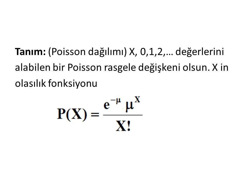 Tanım: (Poisson dağılımı) X, 0,1,2,… değerlerini alabilen bir Poisson rasgele değişkeni olsun. X in olasılık fonksiyonu