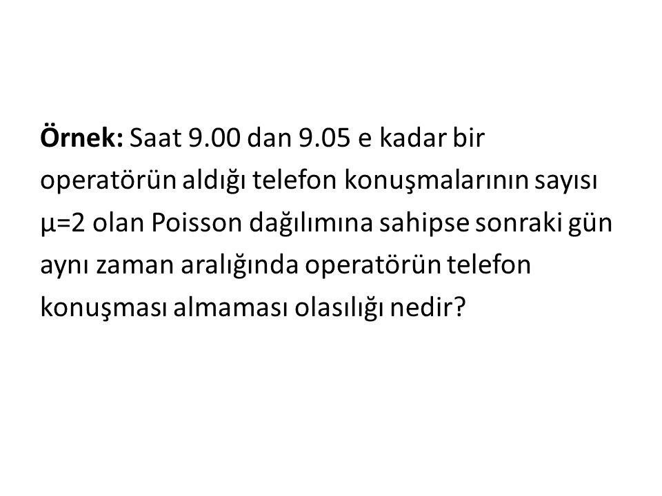 Örnek: Saat 9.00 dan 9.05 e kadar bir operatörün aldığı telefon konuşmalarının sayısı μ=2 olan Poisson dağılımına sahipse sonraki gün aynı zaman aralı