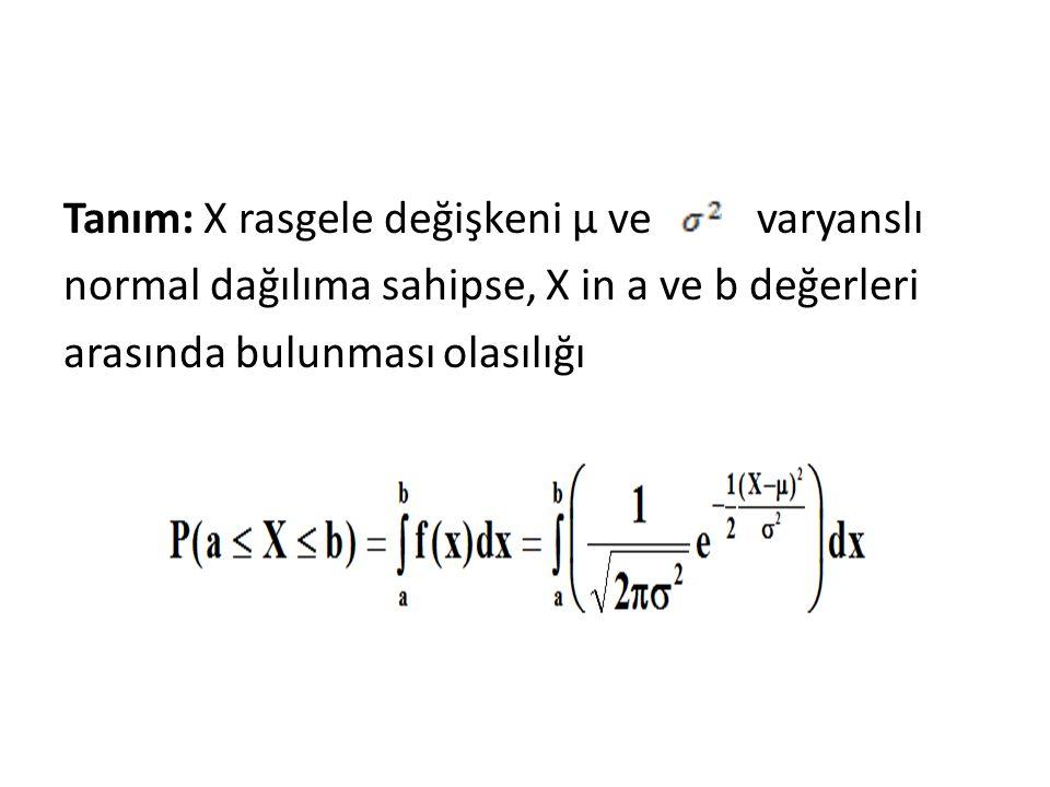 Tanım: X rasgele değişkeni μ ve varyanslı normal dağılıma sahipse, X in a ve b değerleri arasında bulunması olasılığı