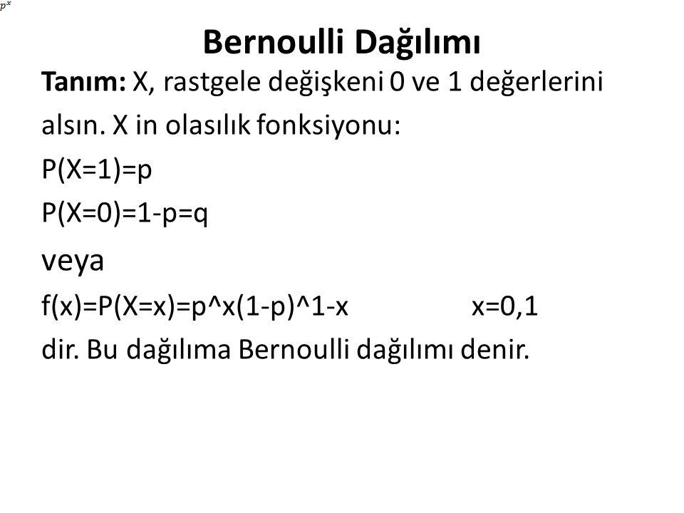 Bernoulli Dağılımı Tanım: X, rastgele değişkeni 0 ve 1 değerlerini alsın. X in olasılık fonksiyonu: P(X=1)=p P(X=0)=1-p=q veya f(x)=P(X=x)=p^x(1-p)^1-