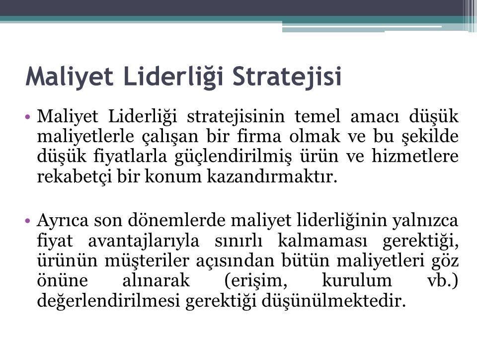 Maliyet Liderliği Stratejisi Maliyet Liderliği stratejisinin temel amacı düşük maliyetlerle çalışan bir firma olmak ve bu şekilde düşük fiyatlarla güç