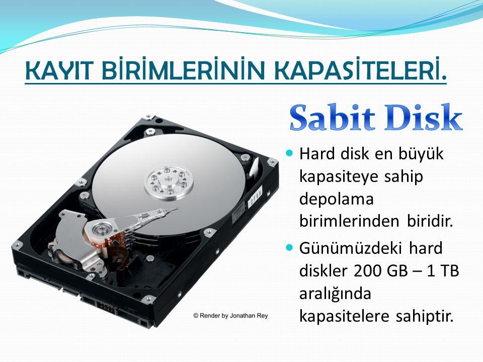 KAYIT B İ R İ MLER İ N İ N KAPAS İ TELER İ. Hard disk en büyük kapasiteye sahip depolama birimlerinden biridir. Günümüzdeki hard diskler 200 GB – 1 TB