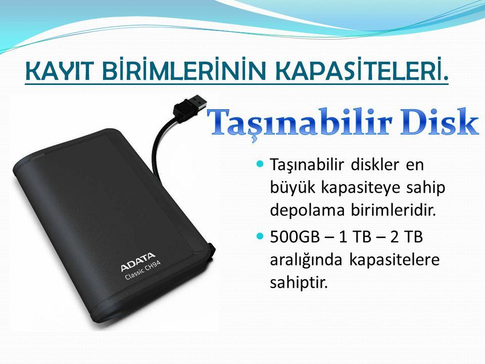 KAYIT B İ R İ MLER İ N İ N KAPAS İ TELER İ. Taşınabilir diskler en büyük kapasiteye sahip depolama birimleridir. 500GB – 1 TB – 2 TB aralığında kapasi