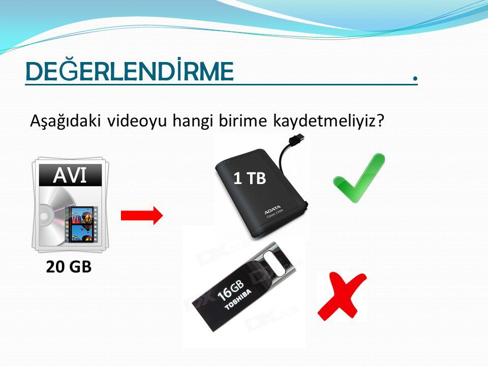 DE Ğ ERLEND İ RME. Aşağıdaki videoyu hangi birime kaydetmeliyiz? 20 GB 1 TB