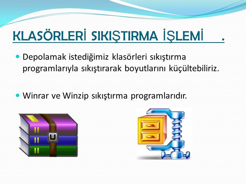 KLASÖRLER İ SIKI Ş TIRMA İŞ LEM İ. Depolamak istediğimiz klasörleri sıkıştırma programlarıyla sıkıştırarak boyutlarını küçültebiliriz. Winrar ve Winzi