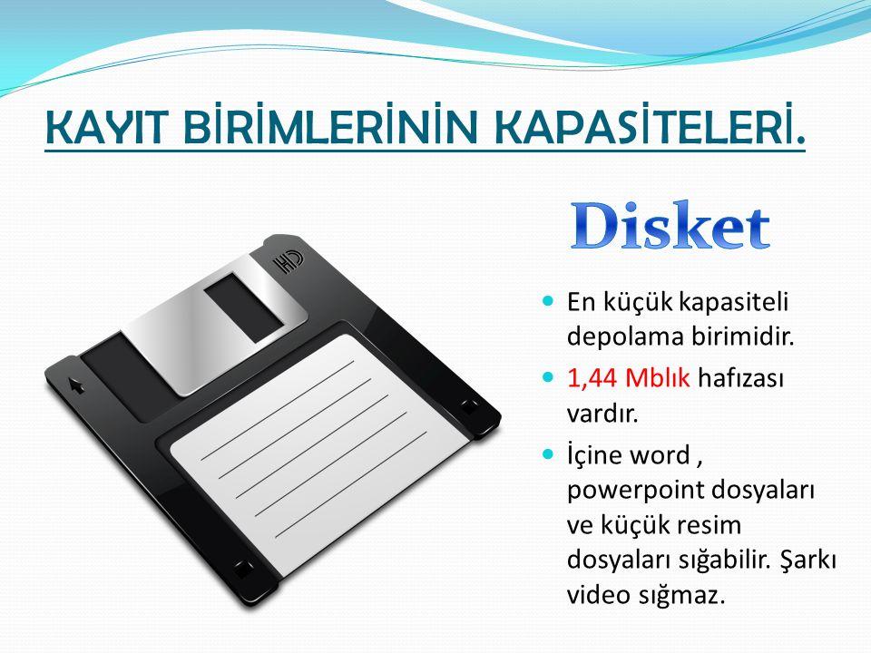 KAYIT B İ R İ MLER İ N İ N KAPAS İ TELER İ. En küçük kapasiteli depolama birimidir. 1,44 Mblık hafızası vardır. İçine word, powerpoint dosyaları ve kü