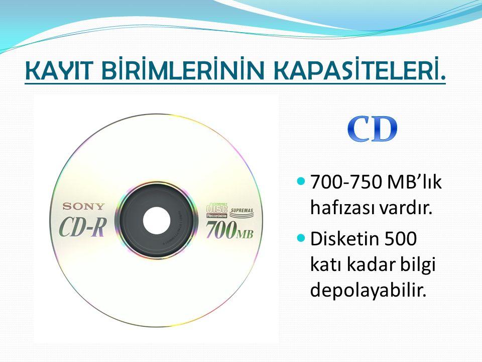 KAYIT B İ R İ MLER İ N İ N KAPAS İ TELER İ. 700-750 MB'lık hafızası vardır. Disketin 500 katı kadar bilgi depolayabilir.
