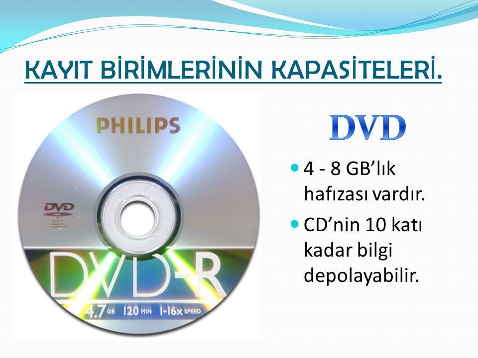 KAYIT B İ R İ MLER İ N İ N KAPAS İ TELER İ. 4 - 8 GB'lık hafızası vardır. CD'nin 10 katı kadar bilgi depolayabilir.