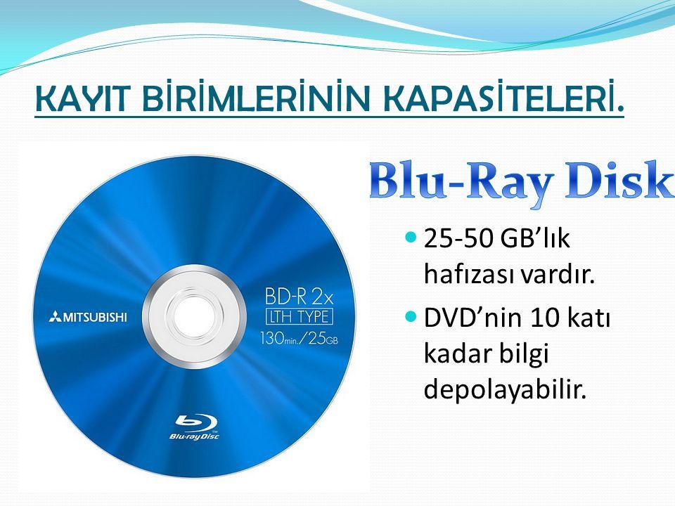 KAYIT B İ R İ MLER İ N İ N KAPAS İ TELER İ. 25-50 GB'lık hafızası vardır. DVD'nin 10 katı kadar bilgi depolayabilir.