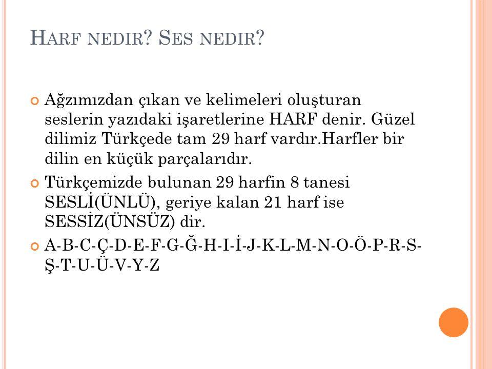 H ARF NEDIR ? S ES NEDIR ? Ağzımızdan çıkan ve kelimeleri oluşturan seslerin yazıdaki işaretlerine HARF denir. Güzel dilimiz Türkçede tam 29 harf vard
