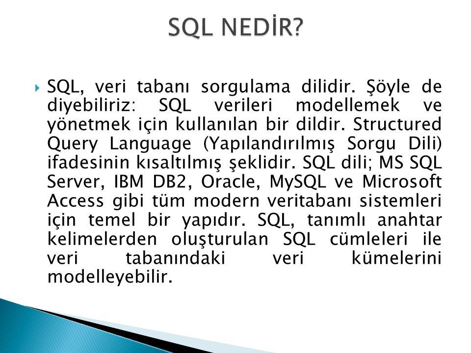  SQL, veri tabanı sorgulama dilidir. Şöyle de diyebiliriz: SQL verileri modellemek ve yönetmek için kullanılan bir dildir. Structured Query Language
