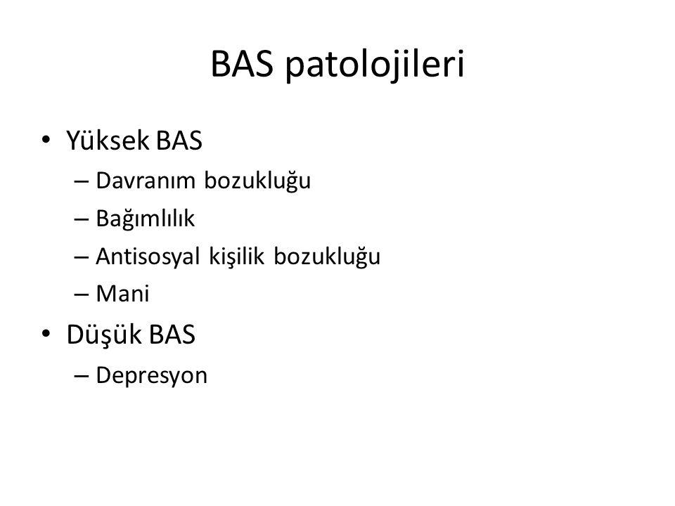 BAS patolojileri Yüksek BAS – Davranım bozukluğu – Bağımlılık – Antisosyal kişilik bozukluğu – Mani Düşük BAS – Depresyon