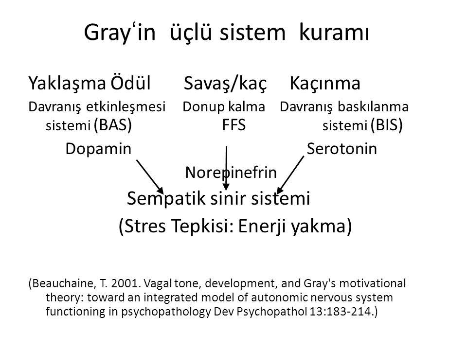 Gray'in üçlü sistem kuramı Yaklaşma Ödül Savaş/kaç Kaçınma Davranış etkinleşmesi Donup kalma Davranış baskılanma sistemi (BAS) FFS sistemi (BIS) Dopamin Serotonin Norepinefrin Sempatik sinir sistemi (Stres Tepkisi: Enerji yakma) (Beauchaine, T.