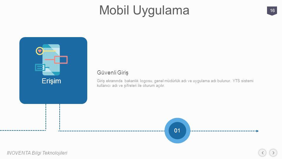Mobil Uygulama INOVENTA Bilgi Teknolojileri 16 01 Giriş ekranında bakanlık logosu, genel müdürlük adı ve uygulama adı bulunur. YTS sistemi kullanıcı a