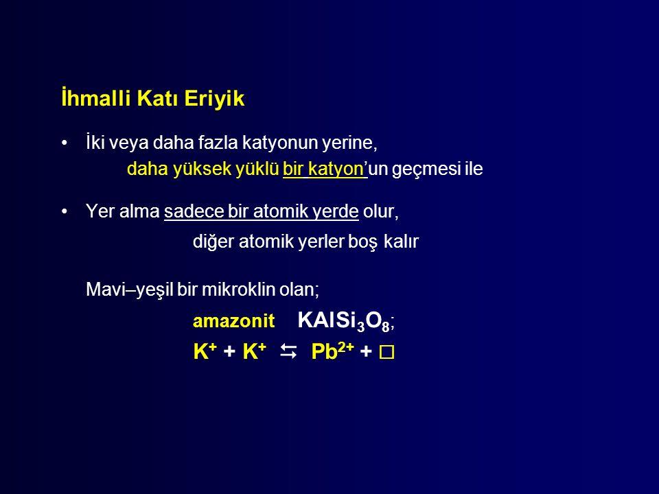 İhmalli Katı Eriyik İki veya daha fazla katyonun yerine, daha yüksek yüklü bir katyon'un geçmesi ile Yer alma sadece bir atomik yerde olur, diğer atomik yerler boş kalır Mavi–yeşil bir mikroklin olan; amazonit KAlSi 3 O 8 ; K + + K +  Pb 2+ + 