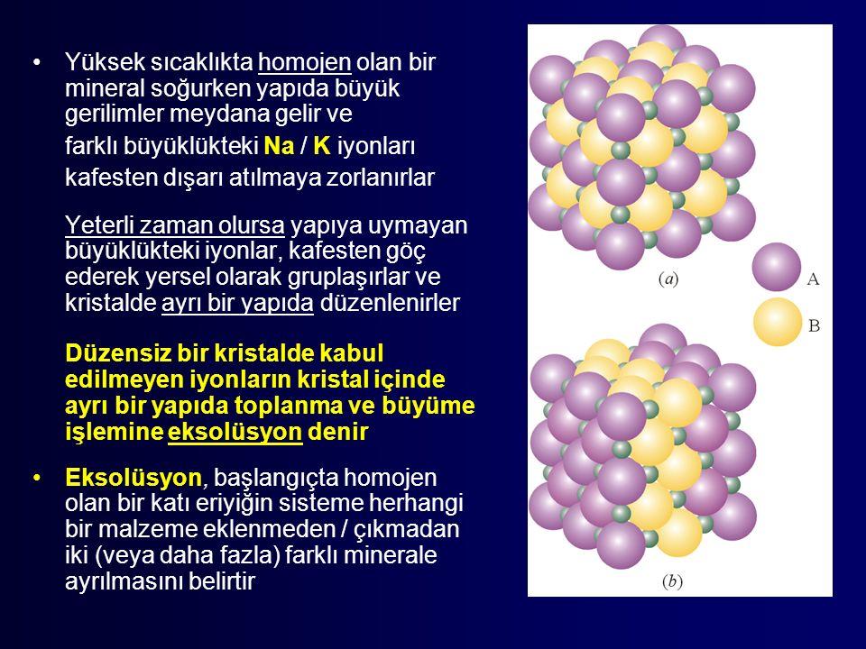 Yüksek sıcaklıkta homojen olan bir mineral soğurken yapıda büyük gerilimler meydana gelir ve farklı büyüklükteki Na / K iyonları kafesten dışarı atılmaya zorlanırlar Yeterli zaman olursa yapıya uymayan büyüklükteki iyonlar, kafesten göç ederek yersel olarak gruplaşırlar ve kristalde ayrı bir yapıda düzenlenirler Düzensiz bir kristalde kabul edilmeyen iyonların kristal içinde ayrı bir yapıda toplanma ve büyüme işlemine eksolüsyon denir Eksolüsyon, başlangıçta homojen olan bir katı eriyiğin sisteme herhangi bir malzeme eklenmeden / çıkmadan iki (veya daha fazla) farklı minerale ayrılmasını belirtir