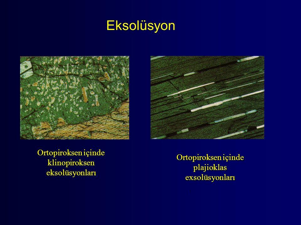 Eksolüsyon Ortopiroksen içinde klinopiroksen eksolüsyonları Ortopiroksen içinde plajioklas exsolüsyonları