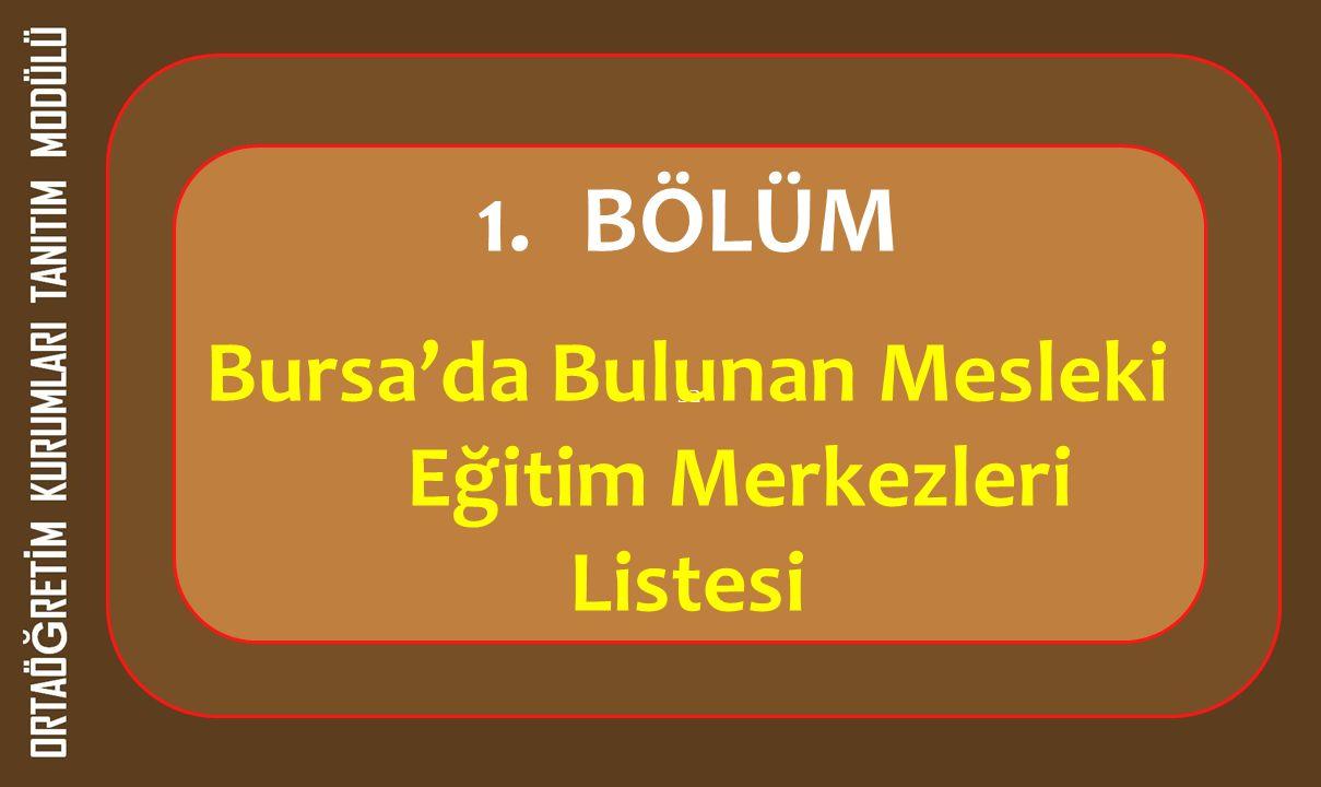 sa 1.BÖLÜM Bursa'da Bulunan Mesleki Eğitim Merkezleri Listesi