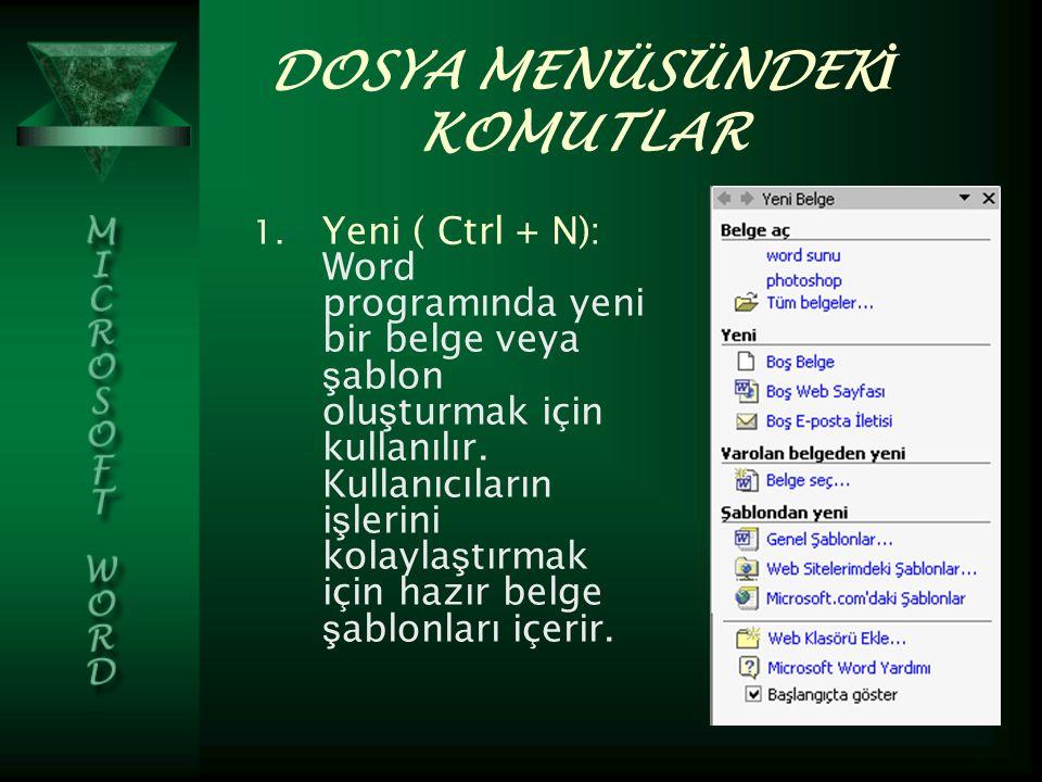 DOSYA MENÜSÜNDEK İ KOMUTLAR 1.