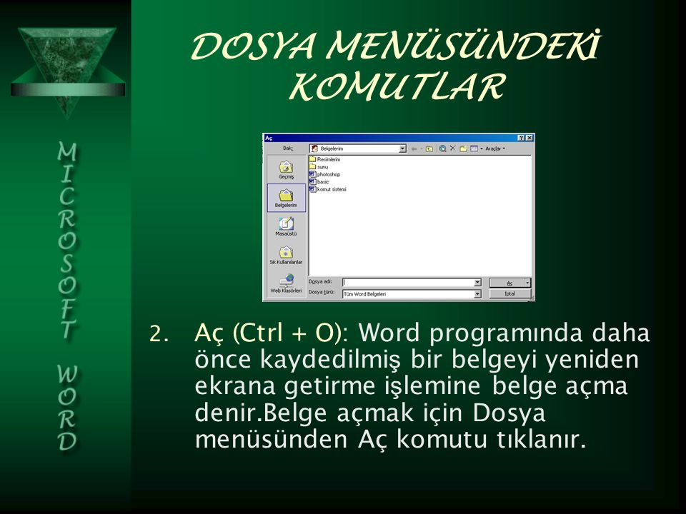 DOSYA MENÜSÜNDEK İ KOMUTLAR 2.