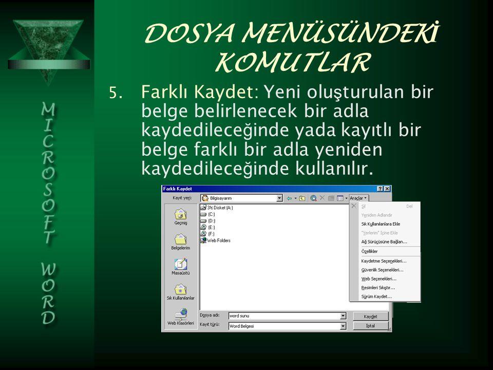 DOSYA MENÜSÜNDEK İ KOMUTLAR 5.