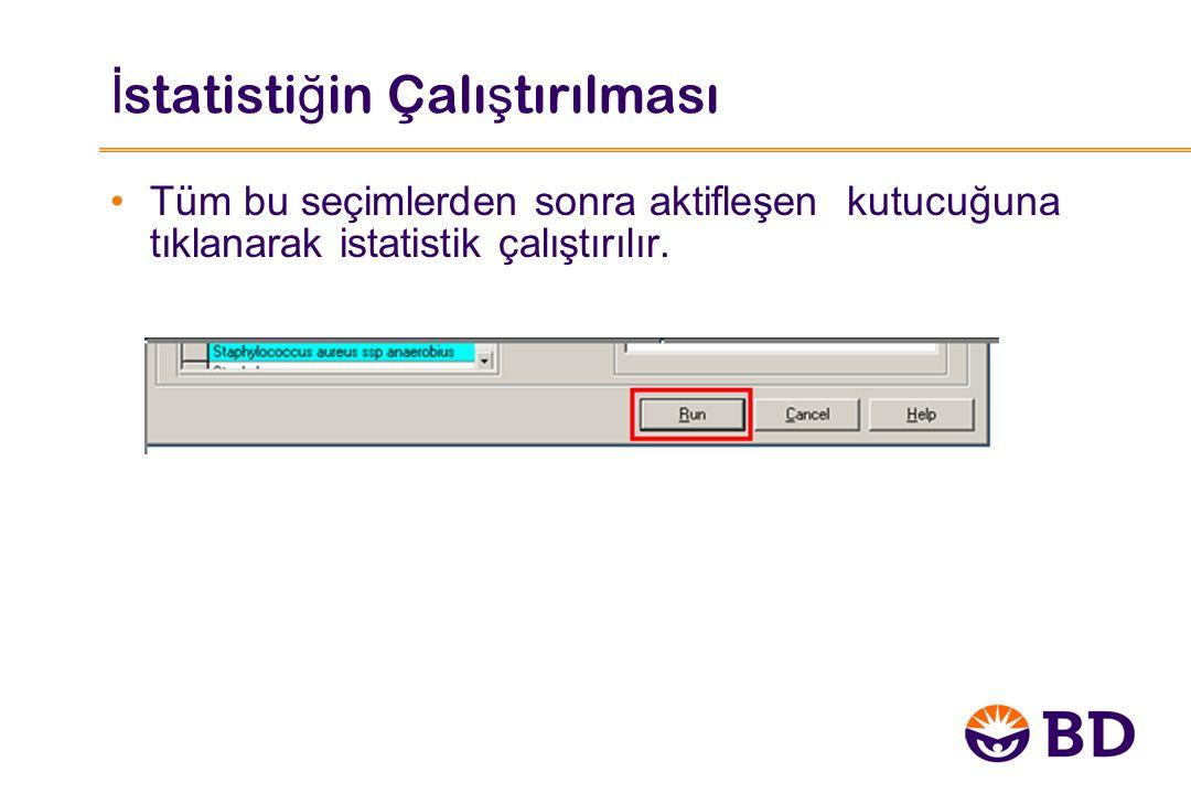 İ statisti ğ in Çalı ş tırılması Tüm bu seçimlerden sonra aktifleşen kutucuğuna tıklanarak istatistik çalıştırılır.