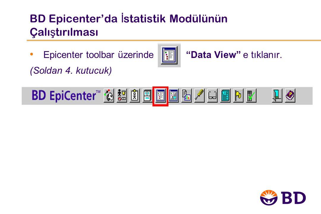 """BD Epicenter'da İ statistik Modülünün Çalı ş tırılması Epicenter toolbar üzerinde """"Data View"""" e tıklanır. (Soldan 4. kutucuk)"""