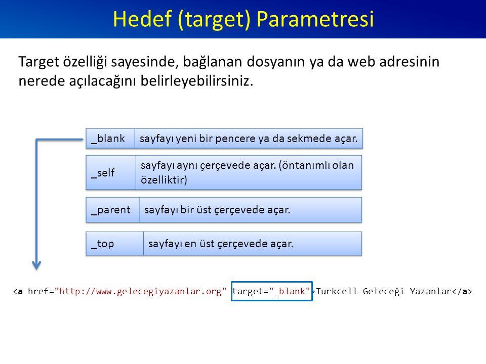 Hedef (target) Parametresi Target özelliği sayesinde, bağlanan dosyanın ya da web adresinin nerede açılacağını belirleyebilirsiniz.