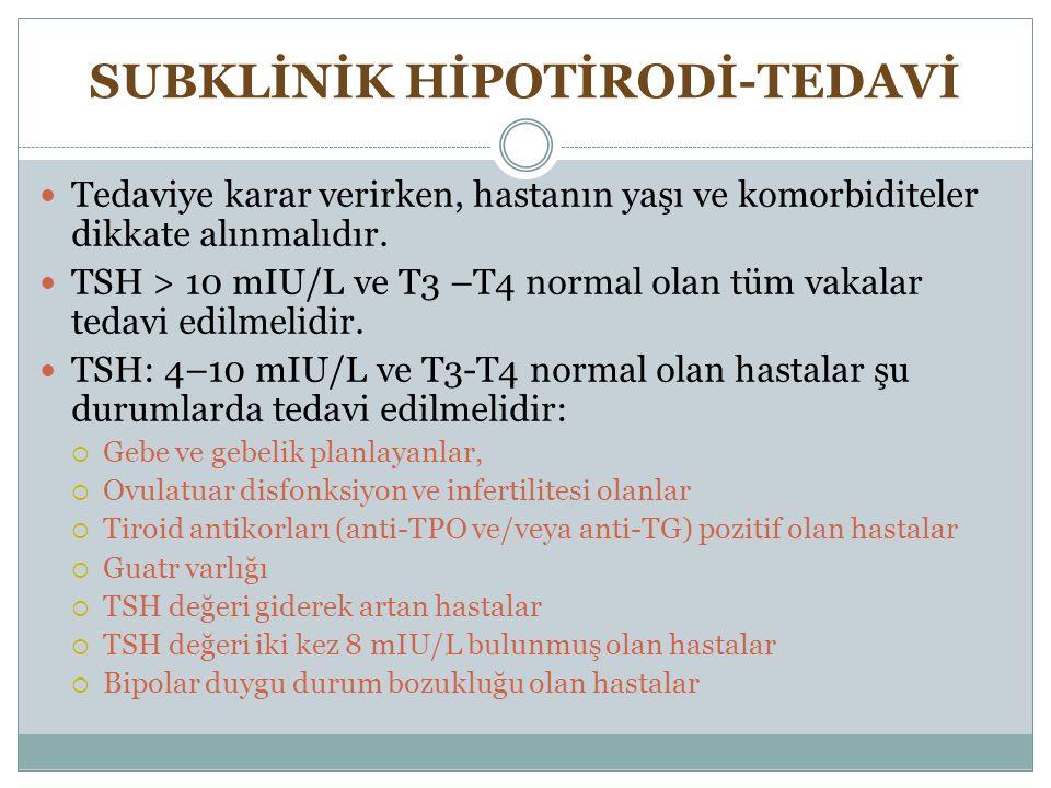 SUBKLİNİK HİPOTİRODİ-TEDAVİ Tedaviye karar verirken, hastanın yaşı ve komorbiditeler dikkate alınmalıdır. TSH > 10 mIU/L ve T3 –T4 normal olan tüm vak