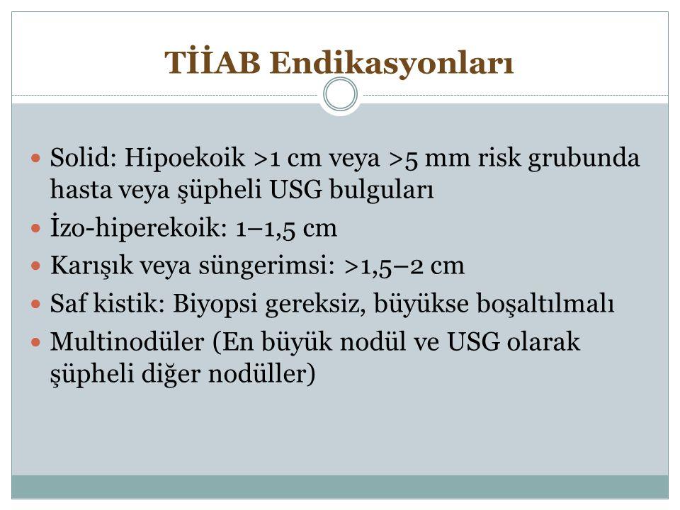 TİİAB Endikasyonları Solid: Hipoekoik >1 cm veya >5 mm risk grubunda hasta veya şüpheli USG bulguları İzo-hiperekoik: 1–1,5 cm Karışık veya süngerimsi