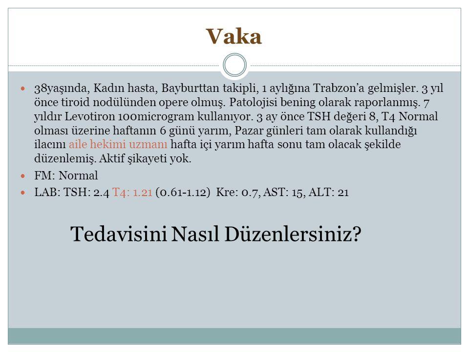 Vaka 38yaşında, Kadın hasta, Bayburttan takipli, 1 aylığına Trabzon'a gelmişler. 3 yıl önce tiroid nodülünden opere olmuş. Patolojisi bening olarak ra