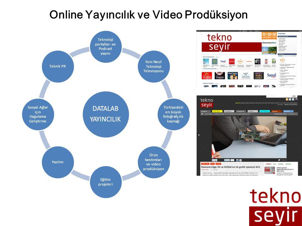 DATALAB YAYINCILIK Teknoloji portalları ve Podcast yayını Yeni Nesil Teknoloji Televizyonu Türkiyedeki en büyük fotoğrafçılık kaynağı Ürün tanıtımları ve video prodüksiyon Eğitim projeleri Yazılım Sosyal Ağlar için Uygulama Geliştirme Teknik PR Online Yayıncılık ve Video Prodüksiyon