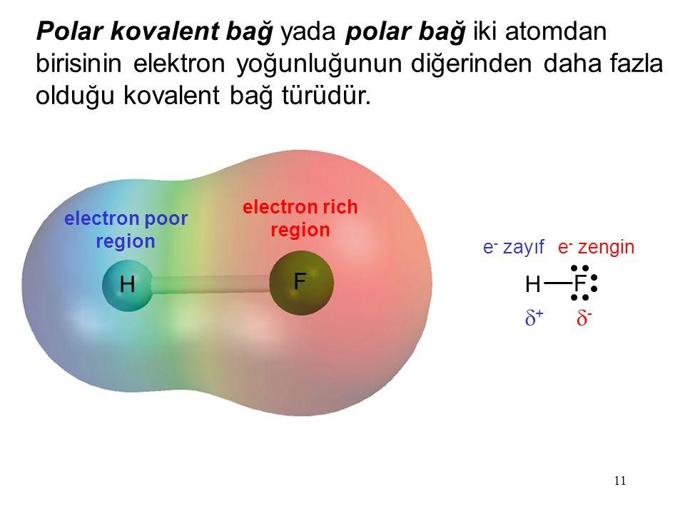 11 H F F H Polar kovalent bağ yada polar bağ iki atomdan birisinin elektron yoğunluğunun diğerinden daha fazla olduğu kovalent bağ türüdür.