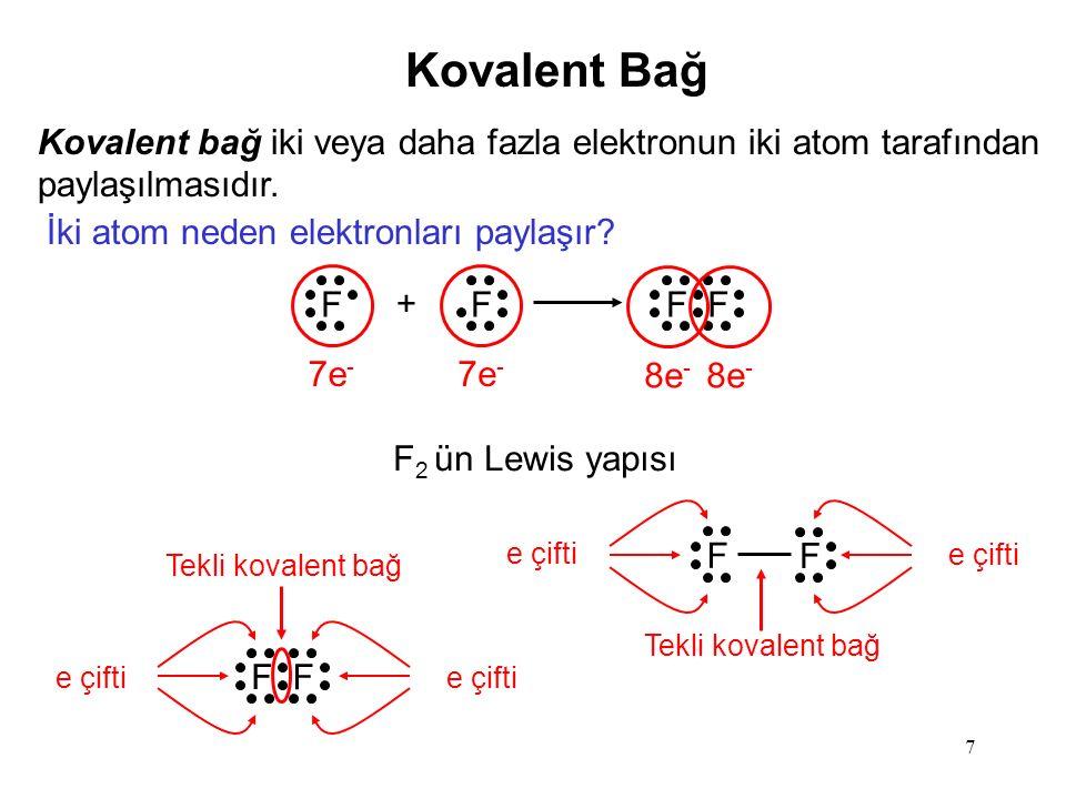 7 Kovalent Bağ Kovalent bağ iki veya daha fazla elektronun iki atom tarafından paylaşılmasıdır.