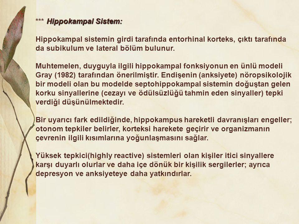 Hippokampal Sistem: *** Hippokampal Sistem: Hippokampal sistemin girdi tarafında entorhinal korteks, çıktı tarafında da subikulum ve lateral bölüm bul