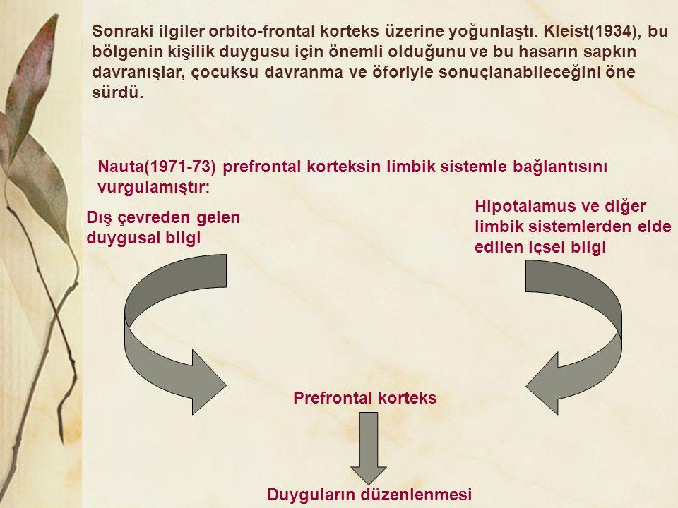 Dış çevreden gelen duygusal bilgi Hipotalamus ve diğer limbik sistemlerden elde edilen içsel bilgi Prefrontal korteks Duyguların düzenlenmesi Nauta(19