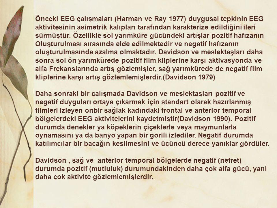 Önceki EEG çalışmaları (Harman ve Ray 1977) duygusal tepkinin EEG aktivitesinin asimetrik kalıpları tarafından karakterize edildiğini ileri sürmüştür.