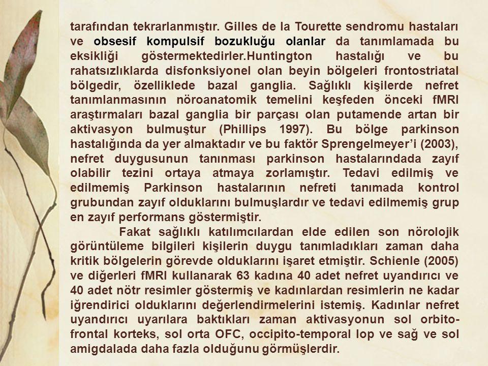 tarafından tekrarlanmıştır. Gilles de la Tourette sendromu hastaları ve obsesif kompulsif bozukluğu olanlar da tanımlamada bu eksikliği göstermektedir