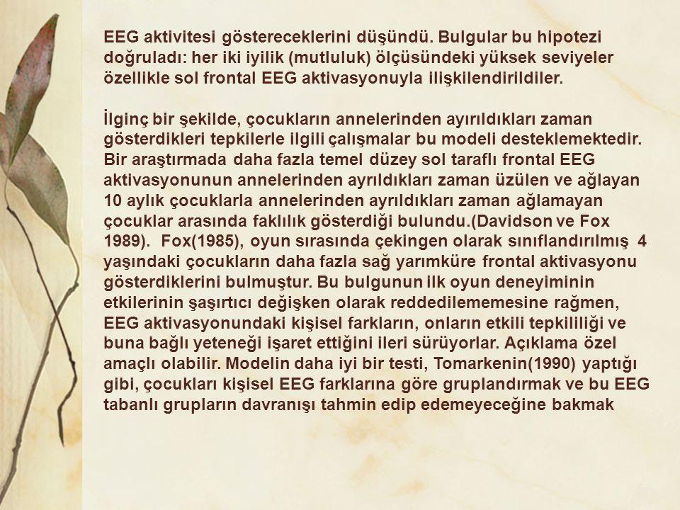 EEG aktivitesi göstereceklerini düşündü. Bulgular bu hipotezi doğruladı: her iki iyilik (mutluluk) ölçüsündeki yüksek seviyeler özellikle sol frontal