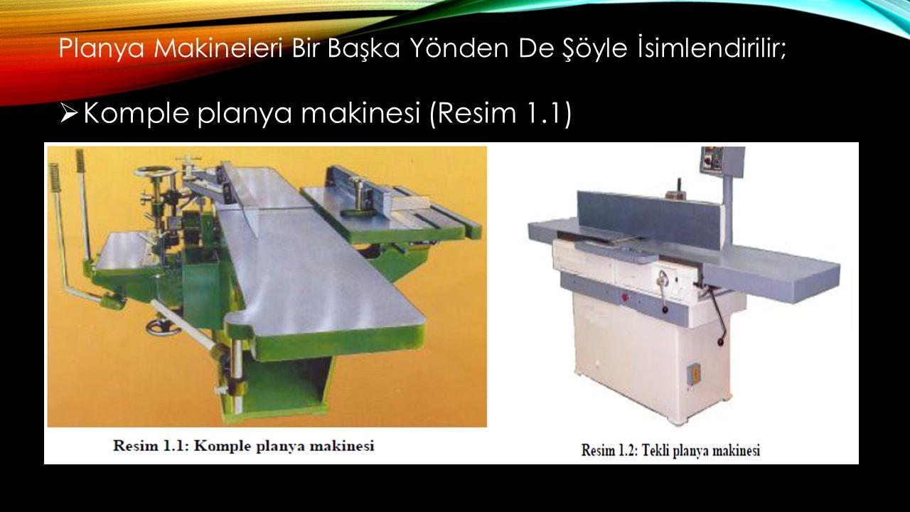 Planya Makineleri Bir Başka Yönden De Şöyle İsimlendirilir;  Komple planya makinesi (Resim 1.1)